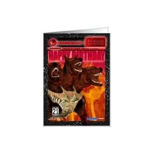 Happy Birthday Game Fan Card with Cerberus Card Toys & Games