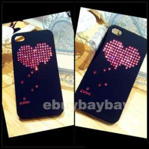 LOVE COUPLE HEART BLING DIAMOND CASE COVER IPHONE 4