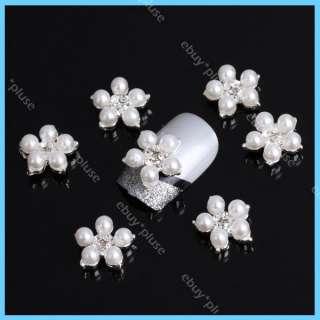10pcs 3D Alloy Rhinestones Faux Pearl Flower Nail Art Glitters DIY