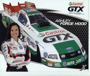 2009 ASHLEY FORCE HOOD FORD MUSTANG FUNNY CAR CASTROL/GTX POSTCARD