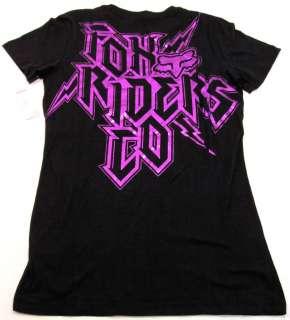 Fox Riders Co Black/Gray/Purple Tee Shirt Juniors L NWT