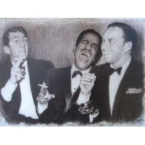 Rat Pack smoking Sketch Portrait, Charcoal Graphite Pencil Drawing