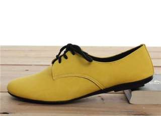 BN Womens Lace Up Flat Oxford Flats Boots Shoes Red Blue Yellow