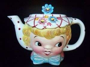 Rare Vintage Lefton Miss Dainty Lady Girl Teapot Coffee Pot   Adorable