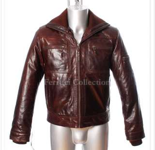 Reeves Brown Mens Winter Warm Real Soft Leather Jacket