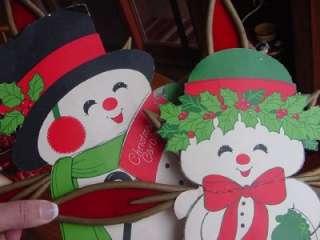 Snowman & Mrs Snowlady HALLMARK die cuts mounted CHRISTMAS wall decor