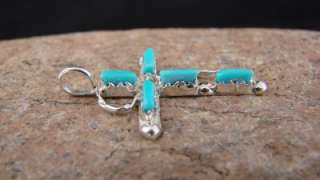 Zuni Turquoise Cross Pendant Sterling Silver Indian