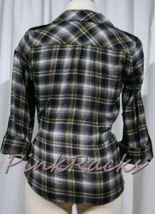 New Black Yellow Plaid Flannel Shirt