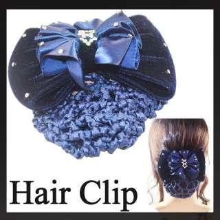 Crystal Lady Bow Barrette Hair Clip With Snood Net Bun Cover A523