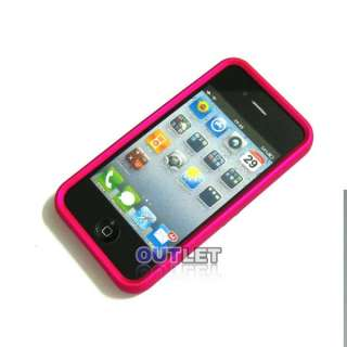 Pink Chrome Stand Hard Case Cover For iPhone 4 4G 4S + Screen