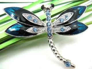 Blue Enamel Dragonfly Rhinestone Crystal Brooch QX0082