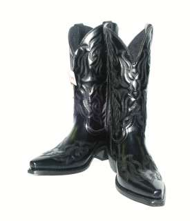 6860 Mens Black Western Boot, Hawk Collection SNIP Toe / Fancy Stitch