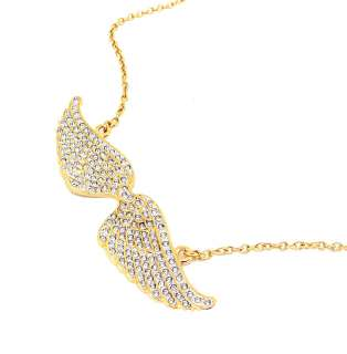 CC Skye Gold Vermeil Pave Crystal Angel Wings Necklace