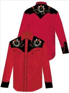 660 Rockabilly Scully Western Cowboy Shirt Lg 2tone Horseshoe Roses