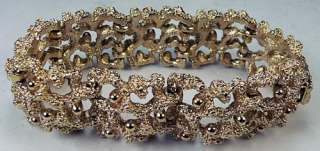 Vintage Golden Nugget Filigree Textured Gold Tone Link Bracelet Size 7