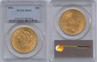 1904 $20 LIBERTY HEAD MS62 PCGS GOLD DOUBLE EAGLE COIN LQQK
