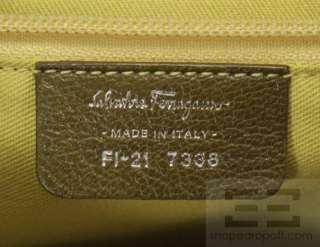 Salvatore Ferragamo Dark Green Leather Silver Logo Lock Handbag