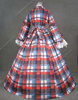 Civil War Victorian Gingham Ball Gown Day Dress 158 M