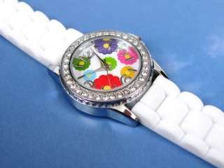 WHITE FLOWERS Dial Silicone Gel Rubber Crystal Bezel Womens WATCH
