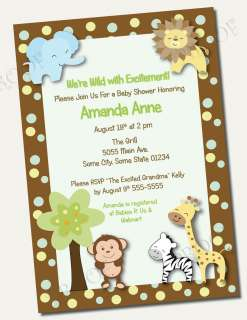 Printed Invitations JUNGLE BABY SHOWER BIRTHDAY monkey safari giraffe