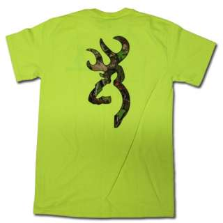 Safety Green Browning Camouflage Buckmark T Shirt   Logo Color Camo