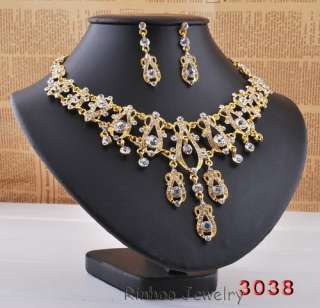 Wholesale 6sets gold plate high grade alloy wedding necklace earrings