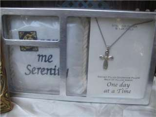 SERENITY PRAYER LOT PILLOW PLAQUE 14KT GOLD CROSS NECKLACE RECOVERY