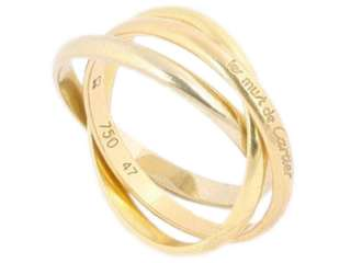 Authentic CARTIER 18K Gold Tri Color Trinity Ring Size 4 47