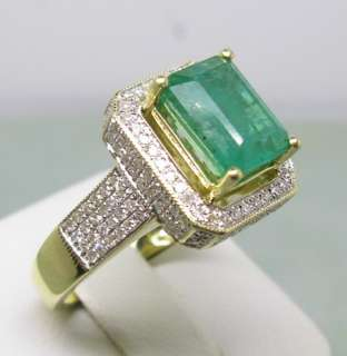 40CT SOLID 14K Y/GOLD NATURAL EMERALD DIAMOND RING