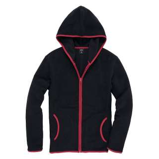Vancl Contrast Zipper Polar Fleece Hoodie/Hoody/Coat/Jacket Black(Men