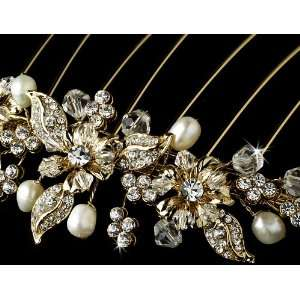 Gold Floral Bridal Hair Comb Rhinestones & Swarovski Crystals Jewelry
