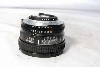 Nikon AF Nikkor 20mm f2.8 D Lens with HB 4 hood & L37c filter made in