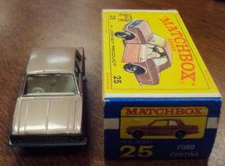 1968 Matchbox Lesney #25 Brown Ford Cortina Car w/ Original Box