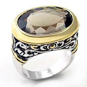 Semi Precious Rings   Two Toned Precious Smoky Quartz Ring