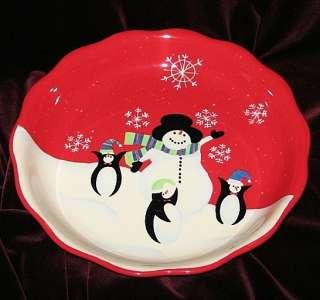JOLLY FRIENDS PIE PLATE POTTERY CERAMIC SNOWMAN ~NEW~