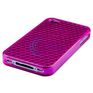 Pink TPU Diamond Case Cover+Privacy Protector Accessory For iPhone 4