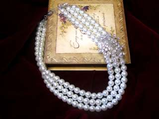 JEWELRY SWAROVSKI RHINESTONES PEARL BRIDAL NECKLACE SET.