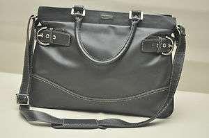 Franklin Covey Black Leather Briefcase Laptop Satchel