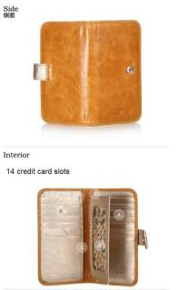 Genuine Leather Women Lady Girl ID Credit Card Holder Purse Wallet