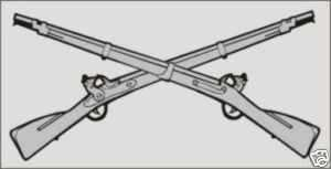 ARMY INFANTRY CROSSED RIFLES CAR WINDOW MILITARY DECAL