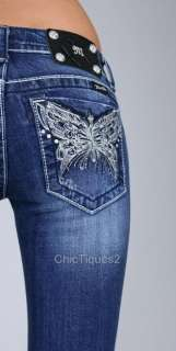 Miss Me Jeans Crystal Rhinestone Butterfly Denim Boot Cut JP5458B Sz