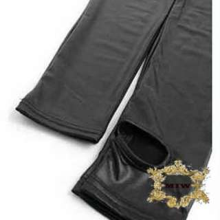 XL New Black Leather Look Fashion Skinny Pants No Heel Leggings