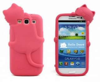 RED Kiki Cat Silicone Soft Back Cover Case For Samsung Galaxy S3 I9300