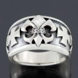 FLEUR DE LIS MALTESE CROSS DIAMOND STERLING SILVER GOTHIC RING NEW
