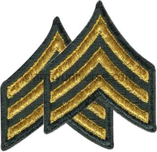 Olive & Gold US Army Sergeant E 5 SGT Insignia Set