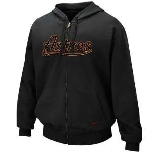 Nike Houston Astros Black Tackle Twill Full Zip Hoody Sweatshirt