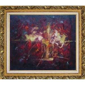 Background Oil Painting, with Ornate Antique Dark Gold Wood Frame 26 x