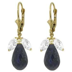 Solid Gold Leverback Earrings with White Topaz & Sapphires Jewelry