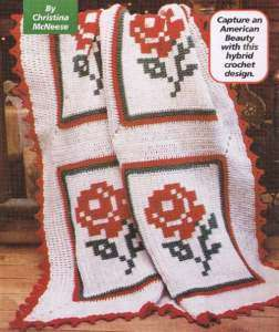 AMERICAN BEAUTY ROSE FLOWER AFGHAN CROCHET PATTERN
