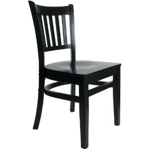 Delran Black Wood Slat Back Chair with Wood Seat